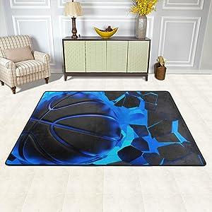 ALAZA 3D Basketball Crash Blue Lighting Wall Area Rug Soft Non Slip Floor Mat Washable Carpet for Bedroom Living Room 1 Piece 4x6 Feet