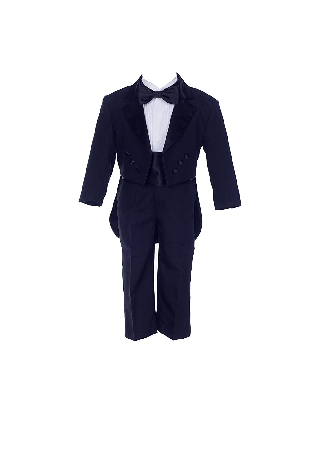 Black Boy Teen Tuxedo Suit with Tail Formal 5-Piece Set Wedding Pageant Party