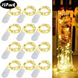 COOLWAS 12 Pack Fairy Lights, 20 LED String Lights 7.2ft Silver Copper Wire Waterproof Fairy String Lights Battery Operated Starry String Lights for Bedroom Patio Garden Wedding Party Festival Decor