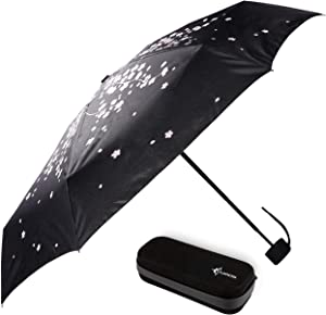 Travel Umbrella with Waterproof Case - Small and Compact for Backpack or Purse. Great Umbrella for Women, Men or Kids. (Cherry Tree)