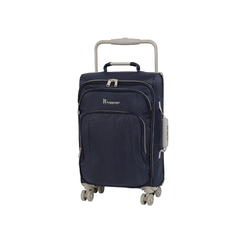 IT Luggage 22 World s Lightest 8 Wheel Spinner, Evening Blue With Cobblestone Trim