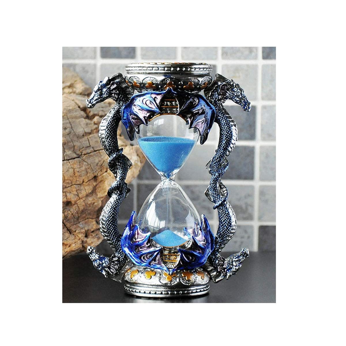 Jiansheng01 Hourglass, Metal Bat Style Creative Style, Hand-Made Fine, with A Packaging Box, Can Be Used As A Gift (Blue, 10.515cm/4.26 Inches) Comfortable (Color : Blue)