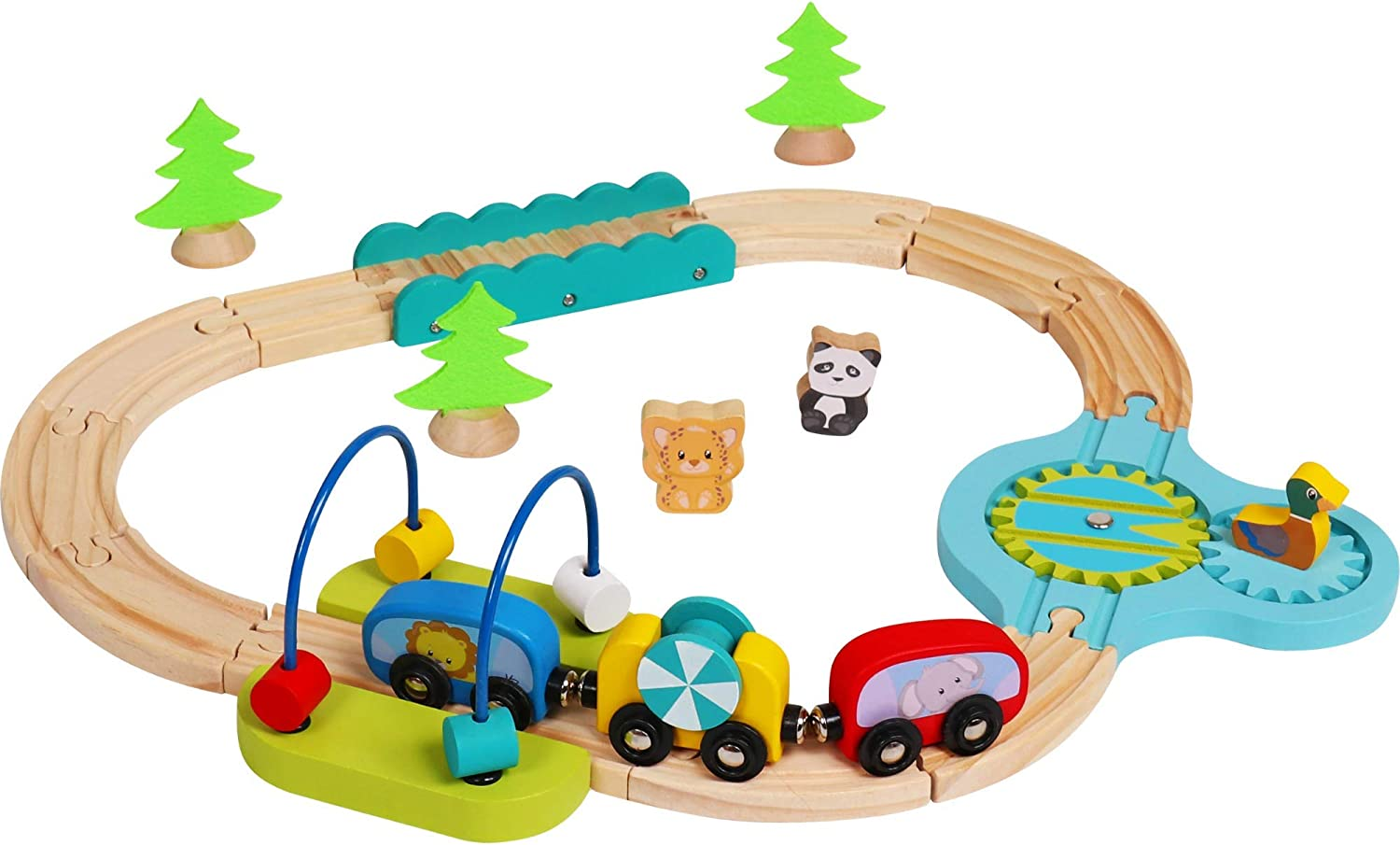 Vesta Baby My First Railway Train Set - 24 Piece Beginner Wooden Rail Activity Toy for Kids - Wood Double-Sided Compatible Tracks with Magnetic Trains, Age 18 Months 2 3 4 Years Old Toddler Boys Girls