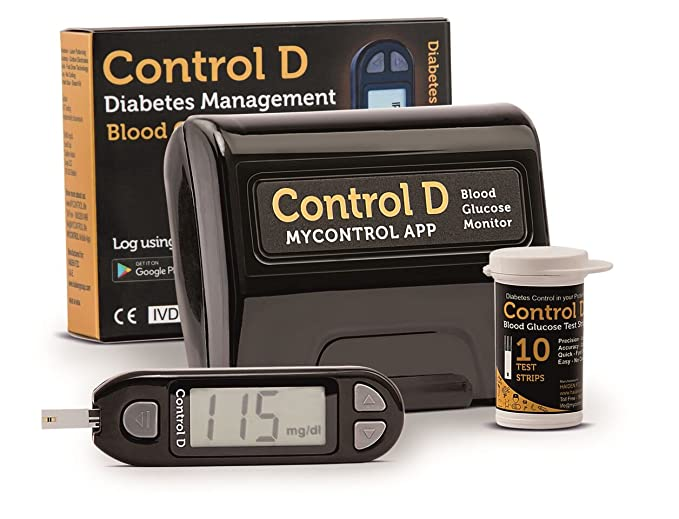 [Apply coupon] Control D Blood Glucose Monitor (Pack of 10 Strips, Black)