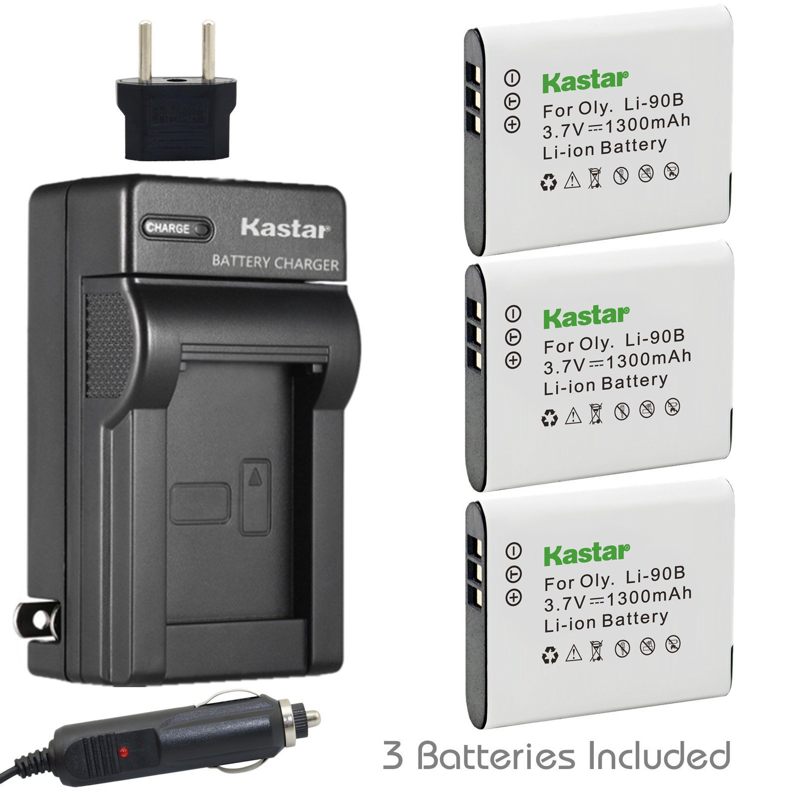 Kastar Battery (3-Pack) and Charger Kit for Olympus LI-90B, LI-92B, UC-90 work with Olympus SH-1, SH-50 iHS, SH-60, SP-100, SP-100EE, Tough TG-1 iHS, Tough TG-2 iHS, Tough TG-3, XZ-2 iHS Cameras