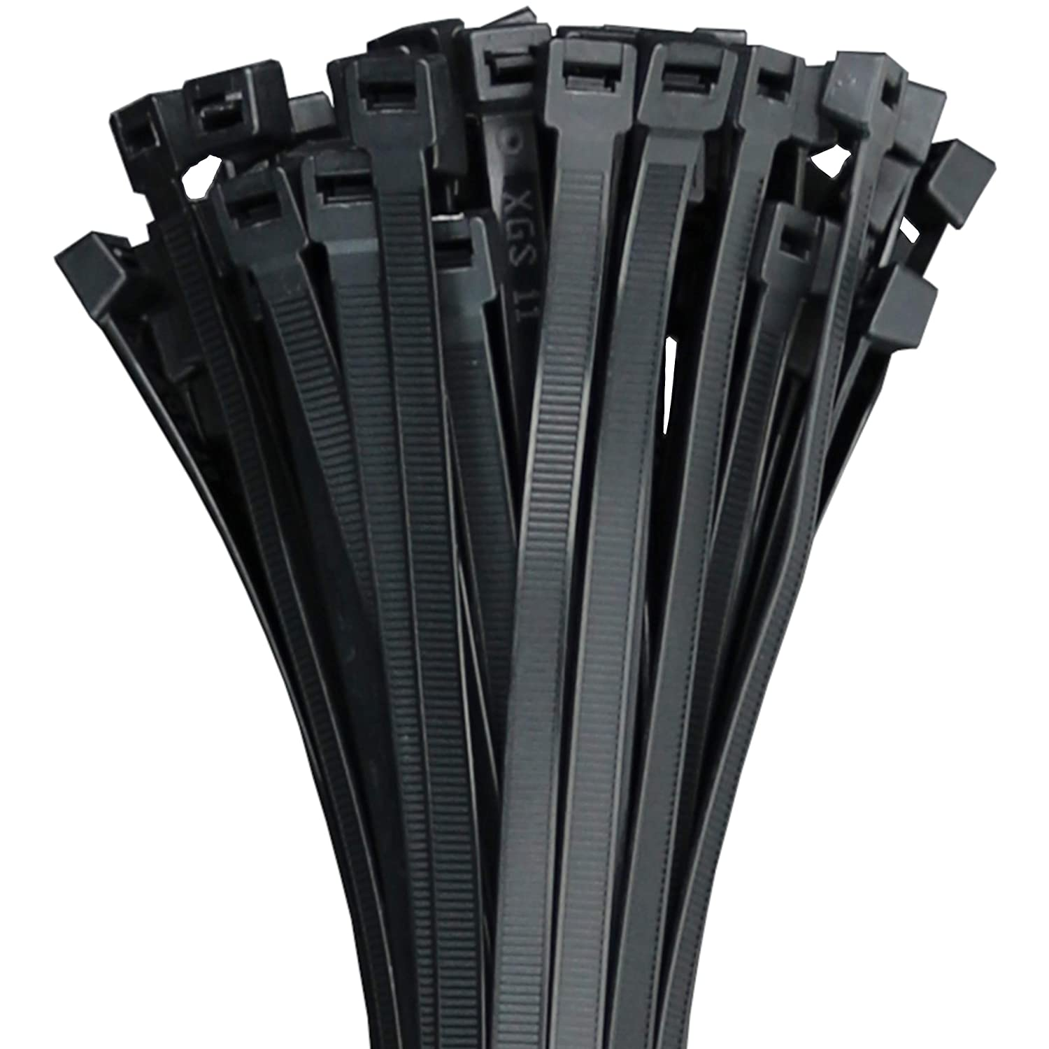 250 Premium Heavy Duty 6 Inch Zip Ties | Black Nylon Cable Ties | XGS Wire Ties by APTronix (6 Inch, Black)