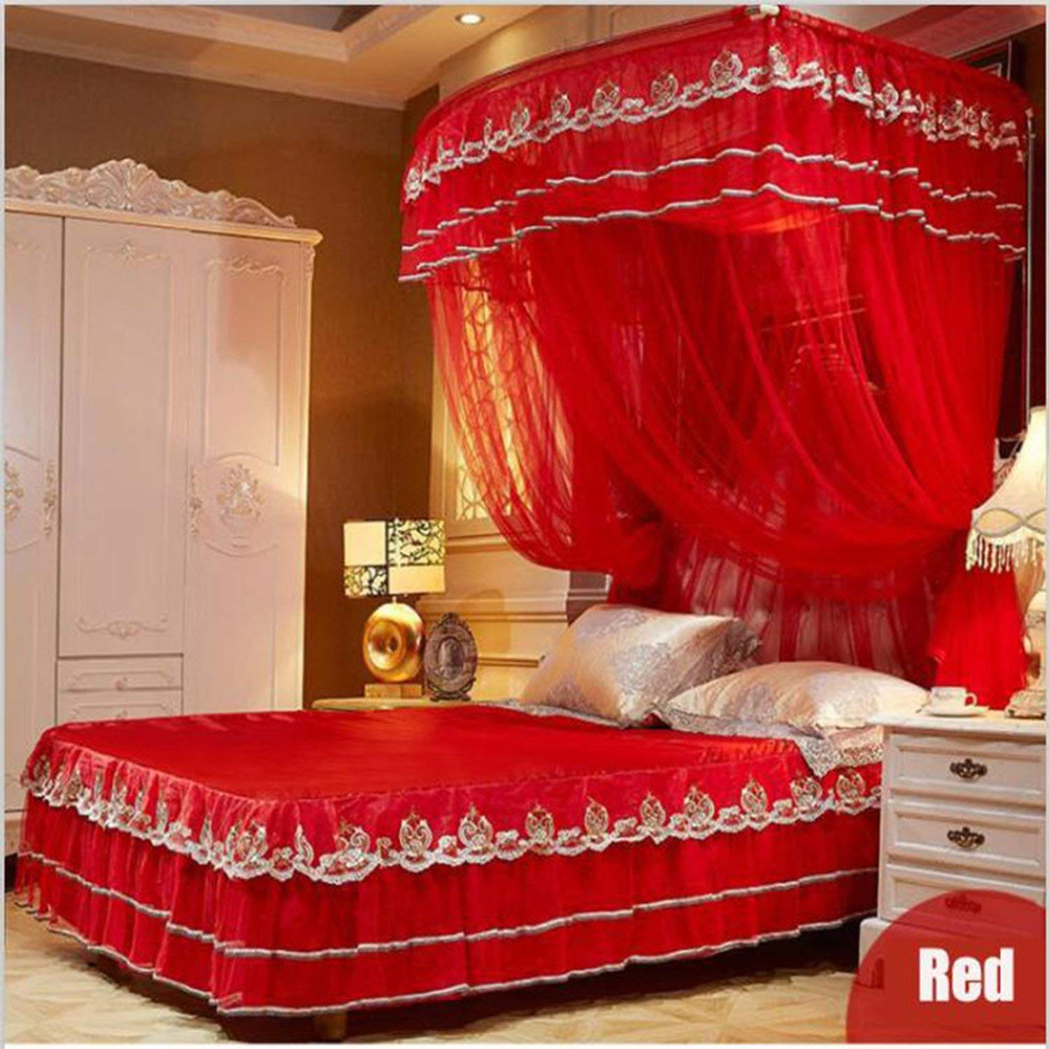 Fishing Rod Retractable Mosquito Net Multi Size Wedding Lace Mosquito Net 50D Encryption Soft Yarn Nice Bed Decor,Red,1.5Mwx2Mlx2.1Mh by special shine-shop mosquito net (Image #4)