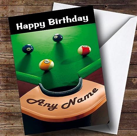 Billar mesa de billar divertido personalizado tarjeta de cumpleaños: Amazon.es: Oficina y papelería