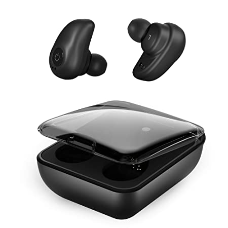 Wireless Earbuds, Upgraded Bluetooth 5.0 Headphones with Hi-Fi Stereo Sound Earphones, Dual Built-in Mic Auto Pairing Headset, 2000Mah Magnetic Charging Case As Power Bank for Android Black
