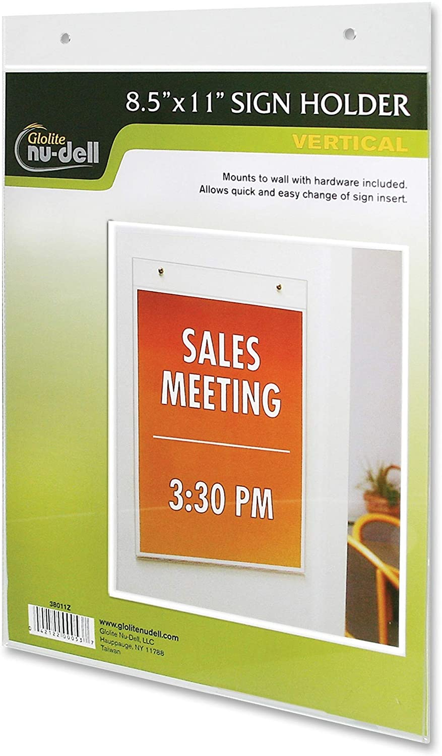 Nu-Dell 38011 Wall Sign Holder, Vertical, 8-1/2-Inch x11-Inch, Clear