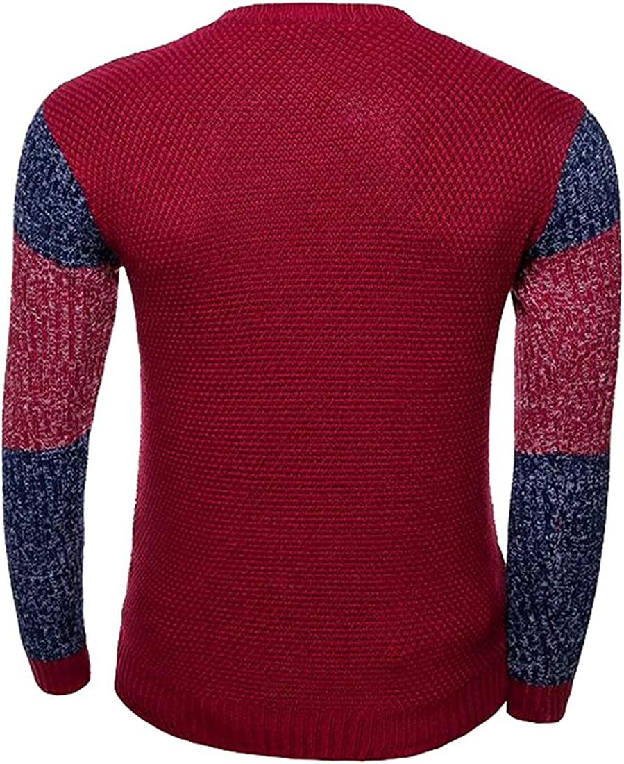 Beautifullight Cool,Handsom Mens Silm Fit Color Blocked Long Sleeves Pullover Sweaters Hot and Fashion