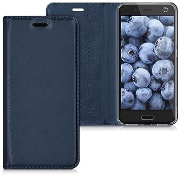 kwmobile Funda para ZTE Blade V8 - Carcasa para móvil de [Cuero sintético] - Case [Plegable] en [Azul Oscuro]
