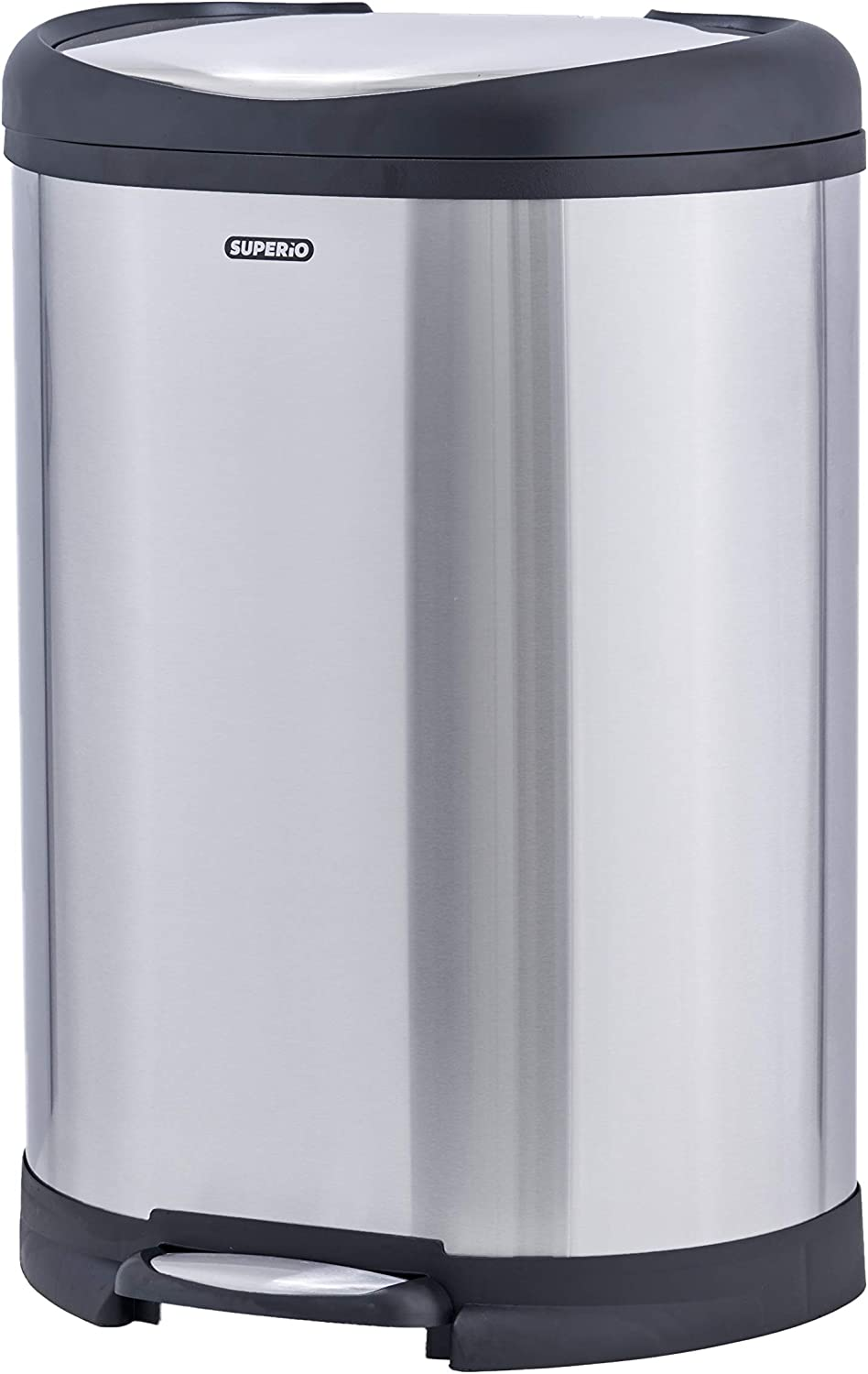 """Superio Stainless Steel Garbage Pail-50 Liter / 13 Gallon D Shaped Trash Can with Lid (27""""H x 19""""W x 13""""D)"""