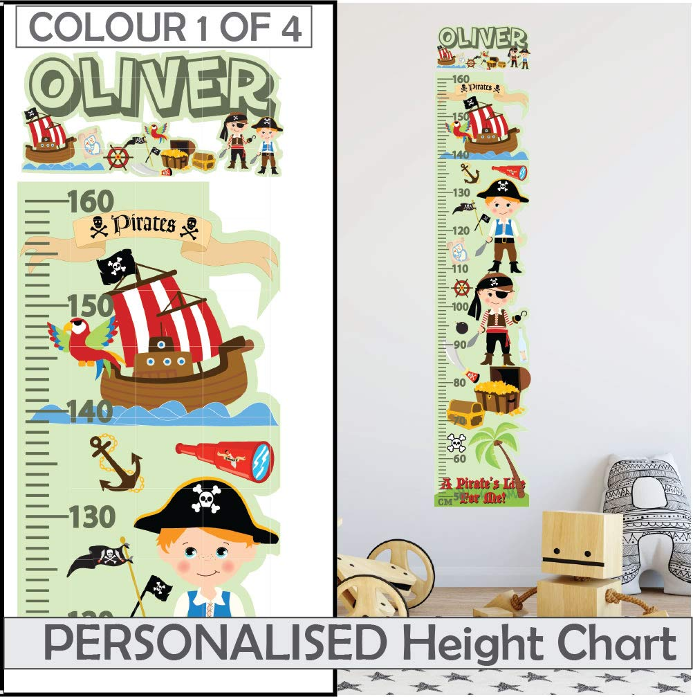 Cars Personalised fabric Boys Height Growth Chart with 8 Vinyl Wall Stickers
