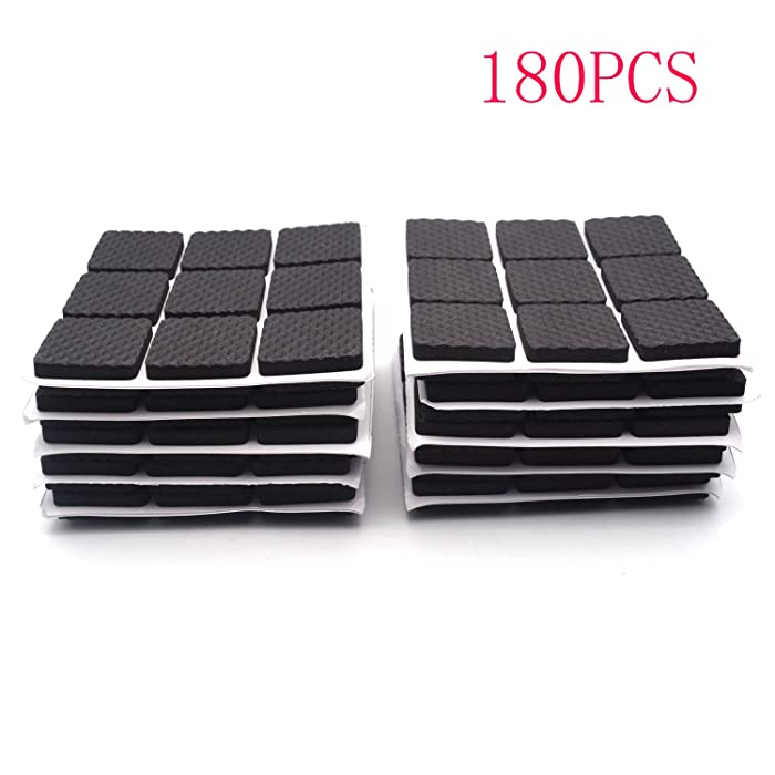 """Antrader 1"""" x 1"""" Non-Slip Furniture Pads Multifunction Black Self Adhesive Mat Leg Table Chair Sofa Feet Sticky Floor Protector Square 180pcs"""