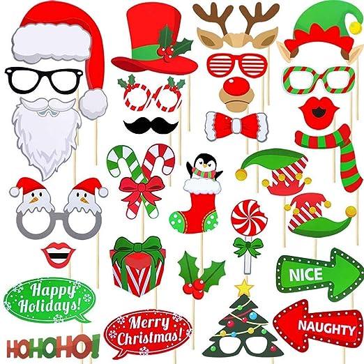 Dusenly 32 piezas de accesorios para fotomatón de Navidad ...