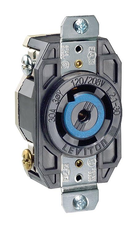 Leviton 2810 30 Amp, 120/208 Volt- 3PY, Flush Mounting Locking ...