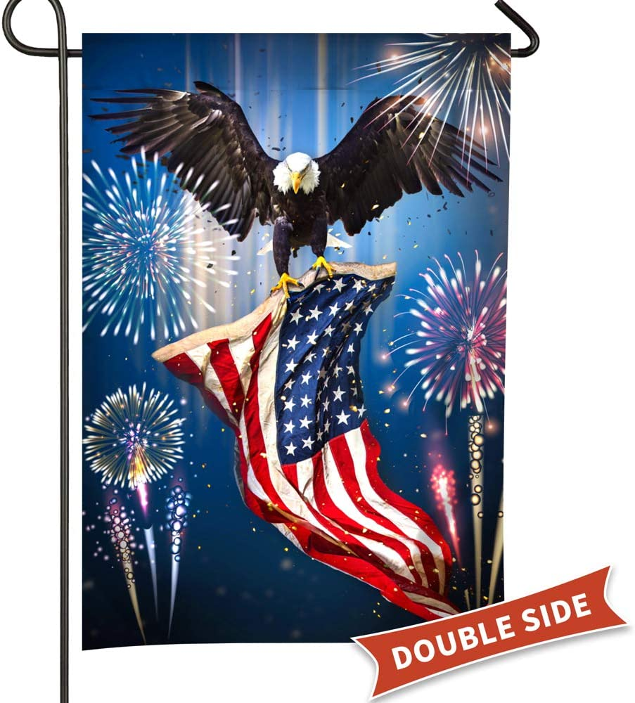 Patriotic America Garden Yard Flags Banner House Home Decor Bald Eagle with Flag Fly in The Festival Fireworks Double Sided Home Flag 12x18
