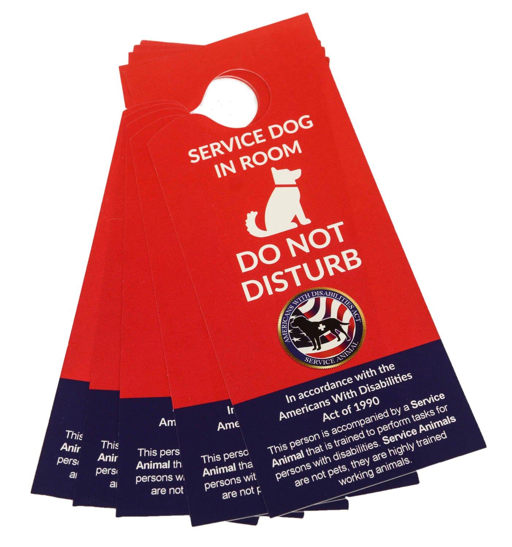 5 ADA Service Dog Door Hangers Door Sign for Your Hotel Room When You Travel