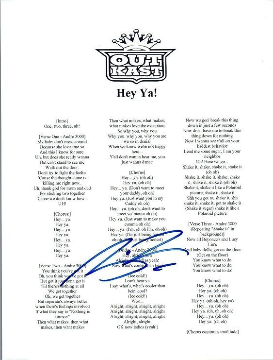 Big Boi Signed Autographed Outkast HEY YA! Song Lyric Sheet COA AB