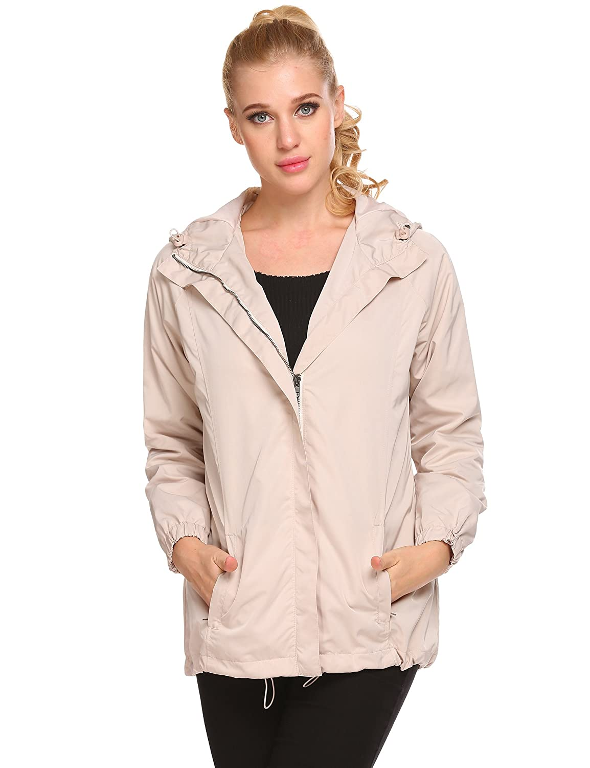 EASTHER Womens Outdoor Waterproof Lightweight Windbreaker Raincoat Hooded Rain Jacket