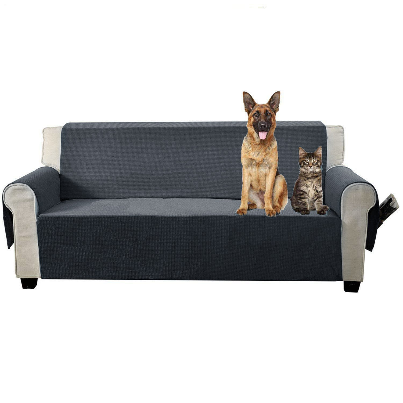 Aidear Anti-Slip Sofa Slipcovers Jacquard Fabric Pet Dog Couch Covers Protectors (Sofa, Gray)