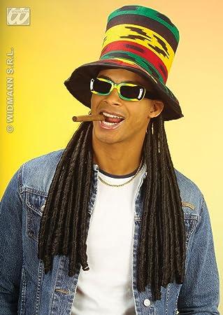 681258c666a Rasta Top Hat With Long Black Dreadlocks Bob Marley Reggae Party Fancy Dress  Sc 1 St Amazon UK