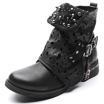 Shoe house Las Mujeres de Bandala Tobillo Botines Vaqueros Botines Vaqueras Zapatos de tacón bajo Casual