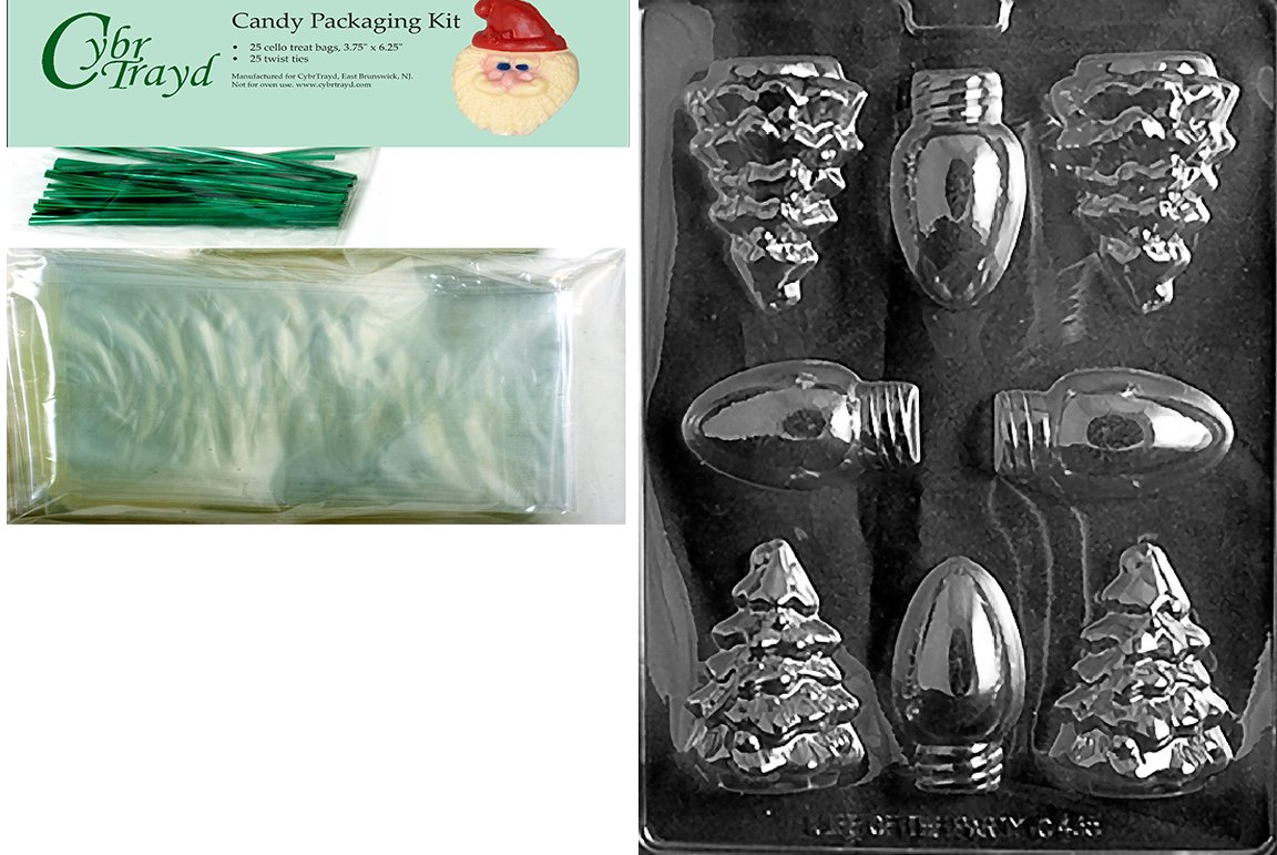 Includes 25 Cello Bags and 25 Green Twist Ties Cybrtrayd MdK25G-C435 Bulbs//Tree Mold Christmas Chocolate Mold with Packaging Kit