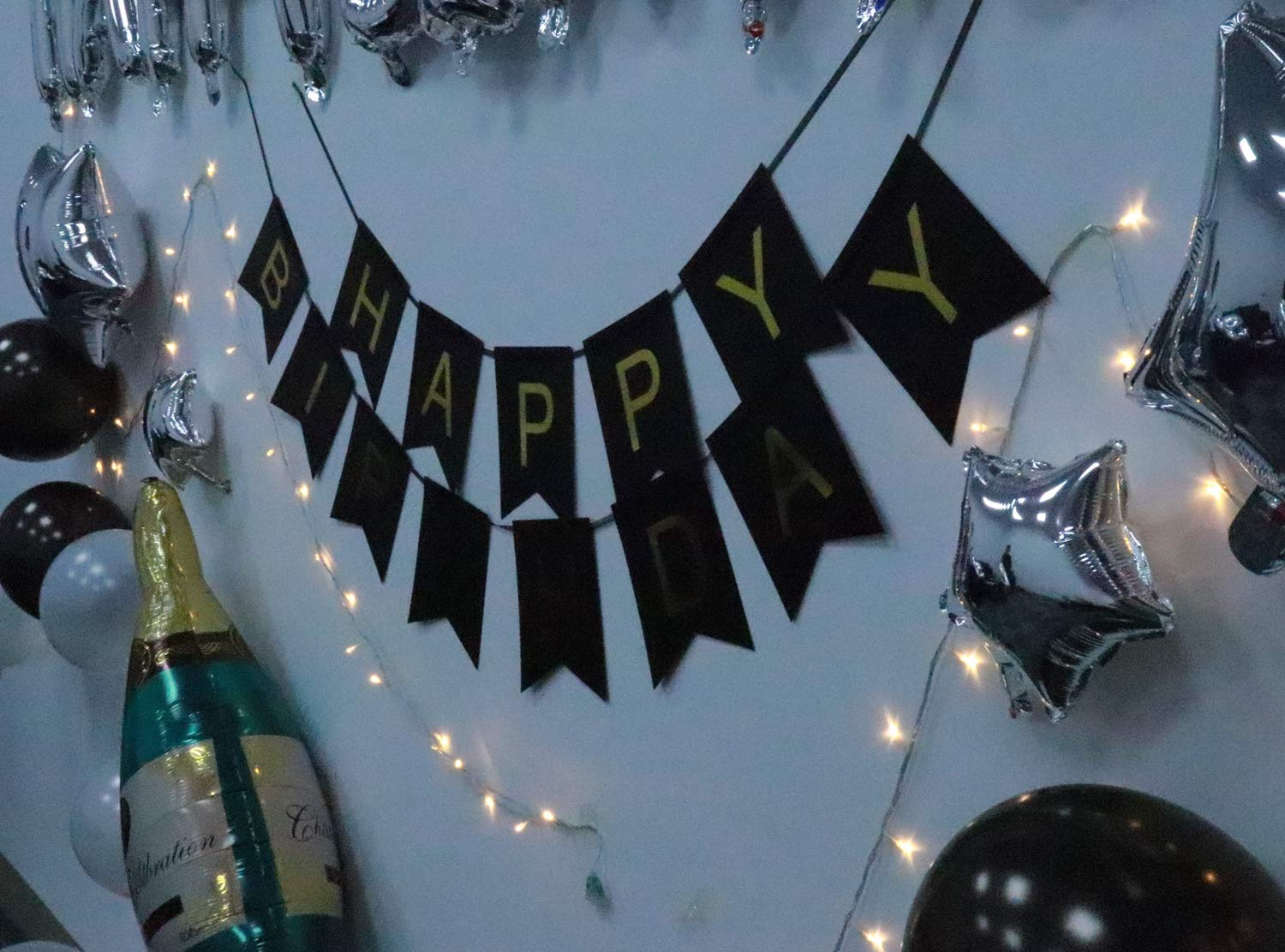1st Birthday Decorations Kit First Boy Girl Black and Silver Birthday Decorations Led String Lights Sliver 1 Foil Balloon Birthday Banner Star Balloons Black and White Latex Balloons haimimall