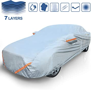Rovtop Car Cover Fully Waterproof,Breathable Scratch Proof Durable Car Tarpaulin with Reflective Strips with Door Zipper,Heavy Duty Rain Snow Dust,Automobiles Indoor Outdoor Protection(490*190*150CM)