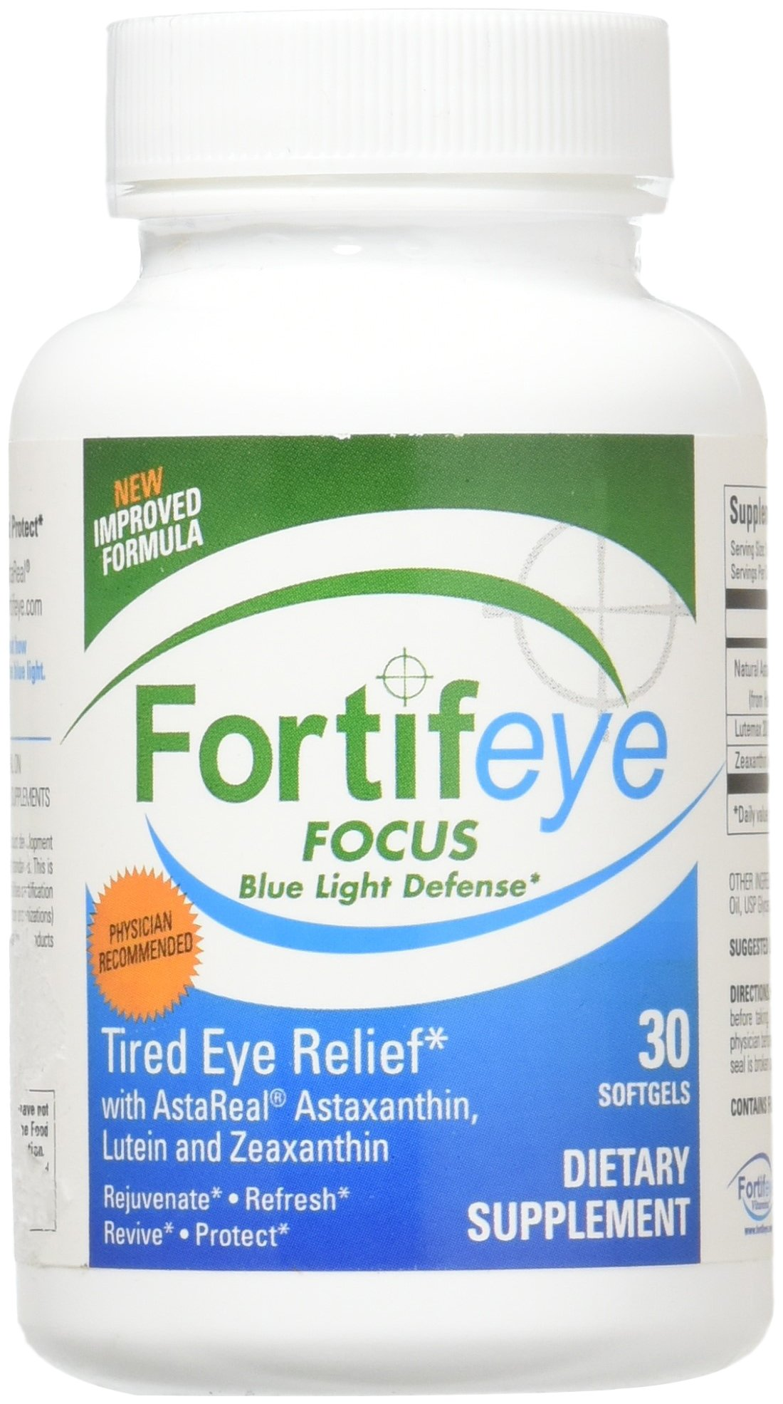 Fortifeye Vitamins Super Omega 3 Fish Oil Natural Eye Care Softgel Green World Focus Supplement Complex Mix Of Macular Carotenoids Including Astaxanthin Lutein