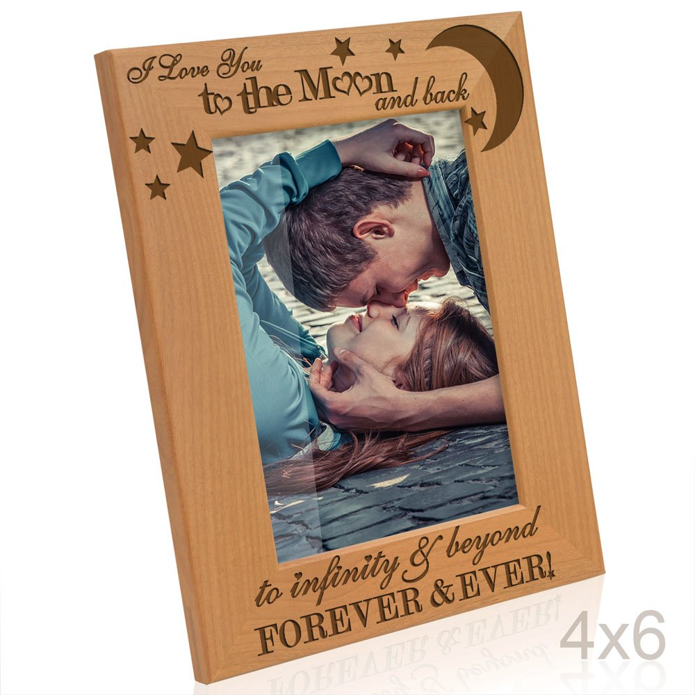 Kate Posh - I love you to the moon and back, to infinity & beyond, forever & ever - Engraved Solid Wood Picture Frame (4x6-Vertical) by Kate Posh (Image #1)