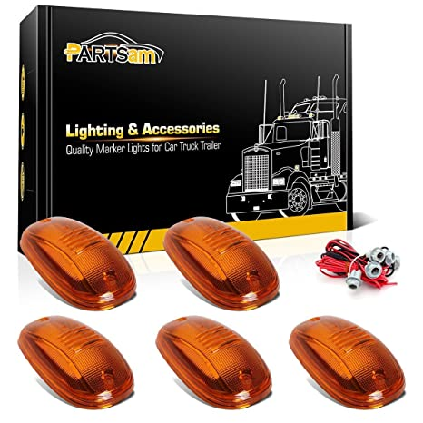 partsam 5x cab marker roof running light assembly amber lens+ t10 wire  harness 5pcs set compatible