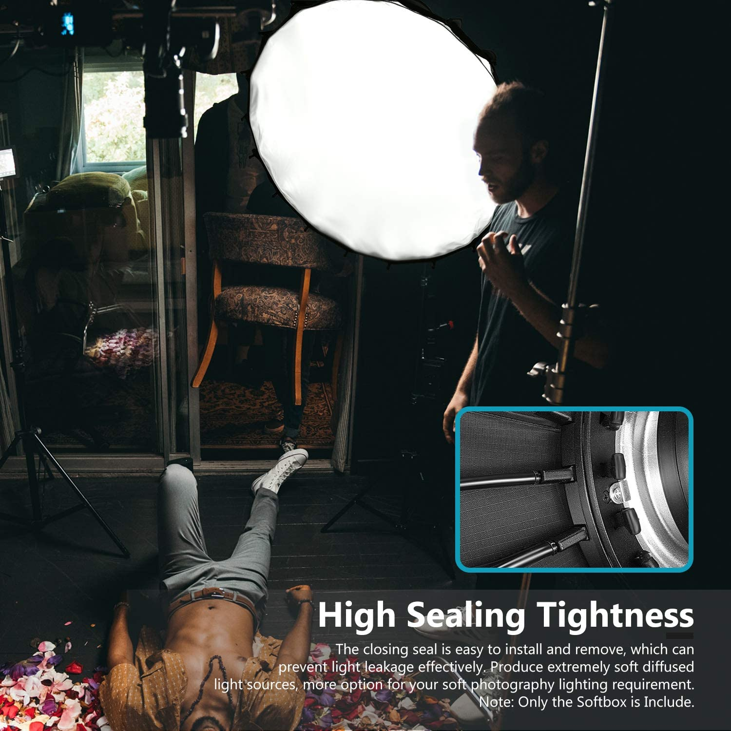 Neewer 35-inch//90cm Hexadecagon Parabolic Softbox with Grid and Carrying Bag Studio Flash Umbrella Diffuser Portable Softbox for LED Lights and Studio Flash with Bowens Mount