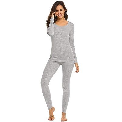 Ekouaer Womens Long Thermal Underwear Fleece Lined Winter Base Layering Set at Women's Clothing store