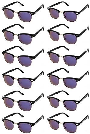 b81dbd1de39 CLASSIC RETRO SUNGLASSES. Black Horn Rimmed Half Frame Vintage Round  Sunglasses for Women   Men