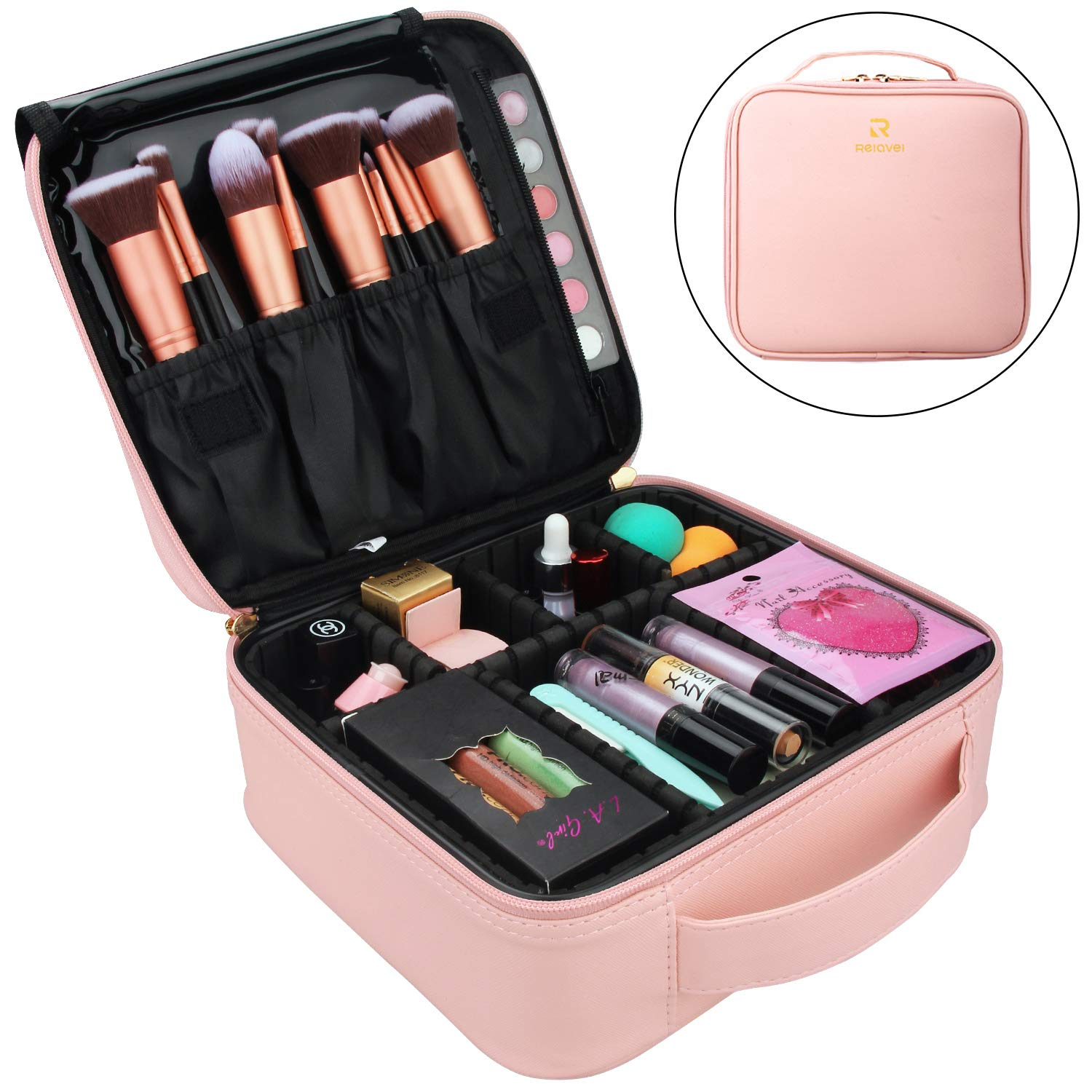 Relavel Makeup Case Travel Makeup Bag Makeup Train Case Cosmetic Bag Toiletry Makeup Brushes Organizer Portable Travel Bag Artist Storage Bag with Adjustable Dividers (Pink)