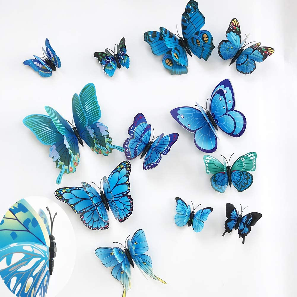 24pcs 3D Colorful Butterfly Wall Stickers DIY Art Decor Crafts for Party Nursery Classroom Offices Kids Girl Boy Baby Bedroom Bathroom Living Room Magnets and Glue Sticker Set (BLUE-double wing)