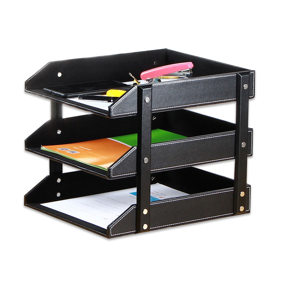 Stacking Letter Trays Leather Office Desk Supply Organizer, 3-Tier Files Sorter Workplace Desktop Storage Holder for Document/Paper/Stationery/Magazine/Newspaper/Mail/Sundries (Black)