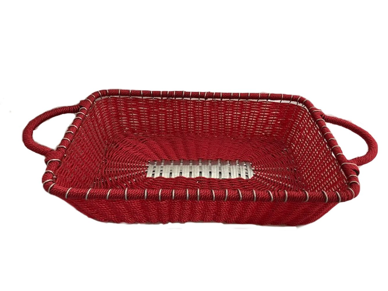 India Handicrafts IHI Colorful Pyrex Holder Basket (Red)