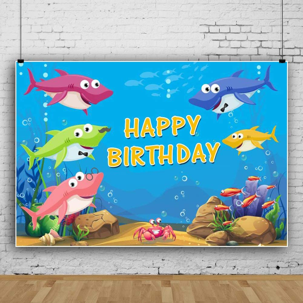 7x7FT Vinyl Wall Photography Backdrop,Shark,Sharks in Water with Octopus Background for Baby Shower Bridal Wedding Studio Photography Pictures