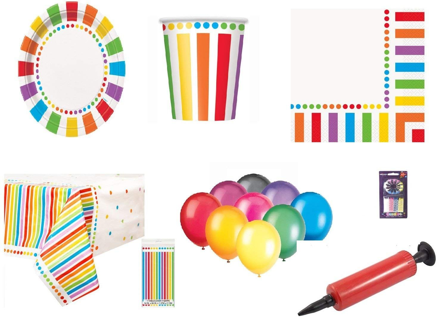 Rainbow Party Kids Birthday Decoration-Rainbow Plates Cups Tovaglioli Copriletti gratis 25 Balloons Candles Balloon Pump-16 Guests