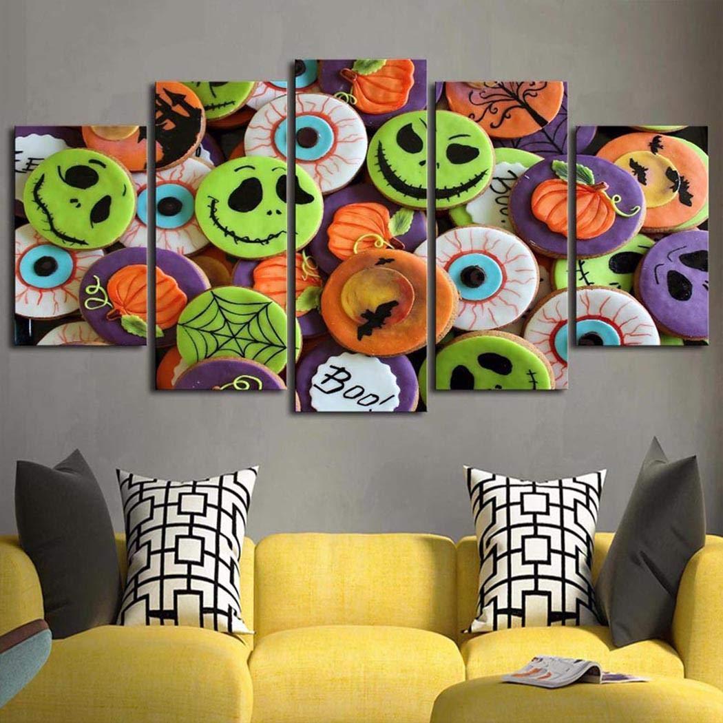 Maxhike 5pcs Maison Salon d/écor Citrouille Halloween Mur de Toile Art peintures Peinture Peintures