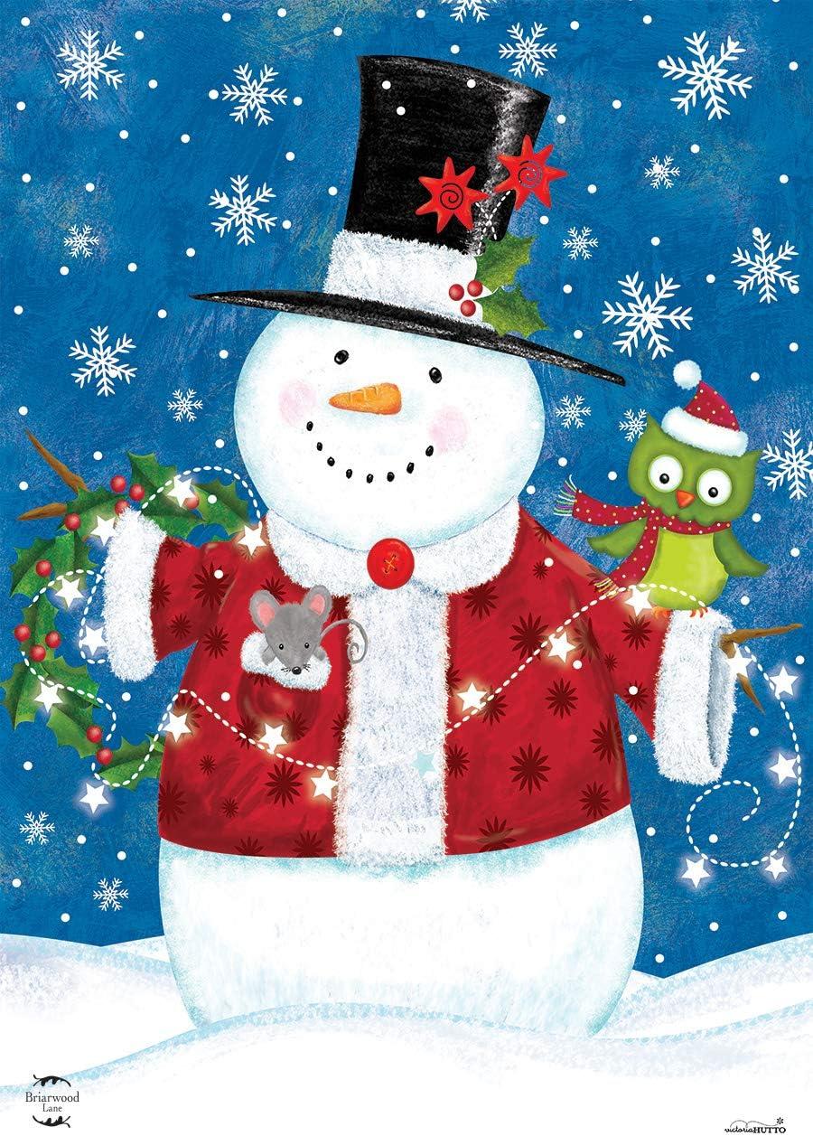 Briarwood Lane Snow Day Cheer Christmas House Flag Snowman Primitive 28