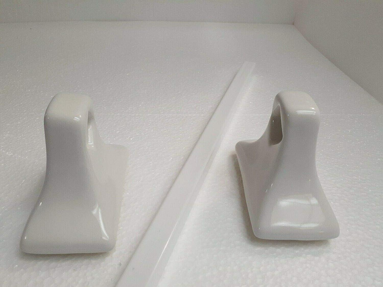 Daltile White Ceramic Towel Bar Rack Rod Holders Mid Century Modern Vintage Color 0100 with White Plastic Bar