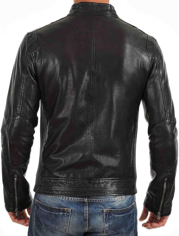 New Mens Leather Jacket Slim Fit Biker Motorcycle Genuine Leather Coat T504