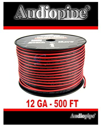 Amazon audiopipe 500 feet 12 gauge awg red black speaker wire audiopipe 500 feet 12 gauge awg red black speaker wire home car zip cord cable greentooth Gallery