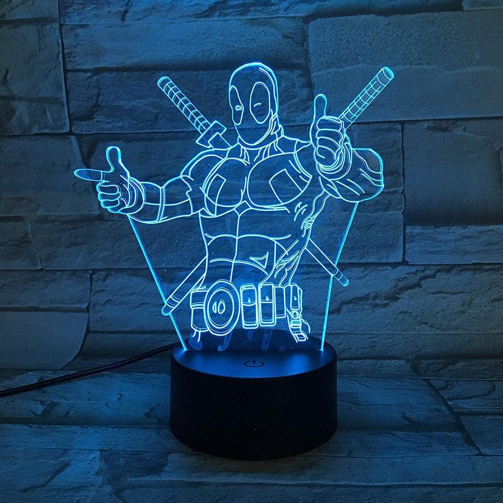 3D Optical Deadpool Night light