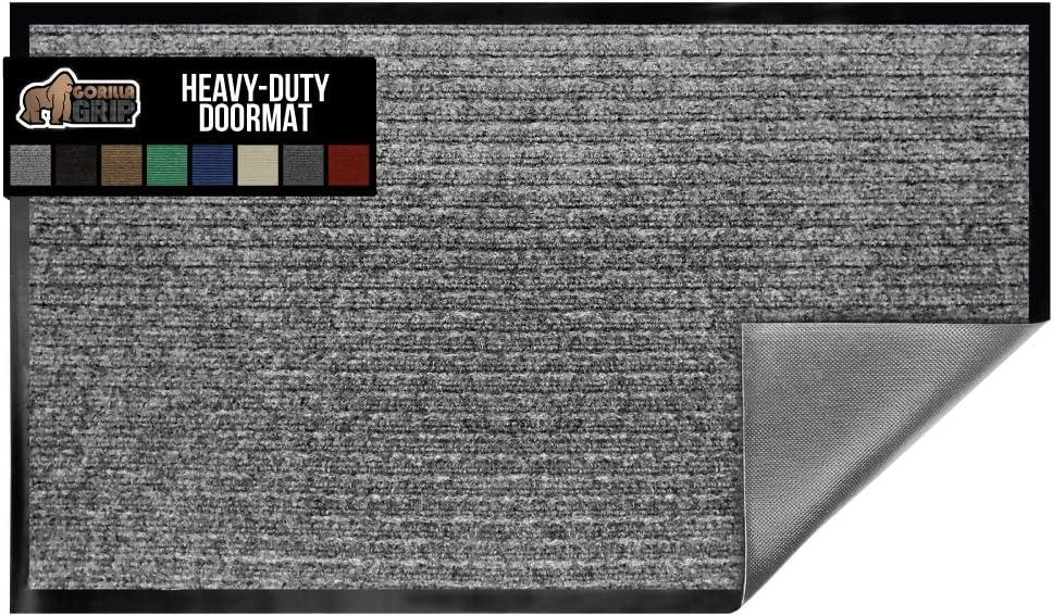 Gorilla Grip Original Low Profile Rubber Door Mat, 72x24, Heavy Duty, Durable Runner Doormat for Indoor and Outdoor, Waterproof, Easy Clean, Home Rug Mats for Entry, High Traffic, Light Gray